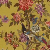 Tissu Hydrangea Bird  Ochre GP & J Baker