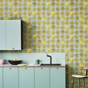 Arance Fornasetti Wallpaper Blood Orange/Ink Cole and Son