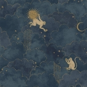 Papier peint Stars and Monkeys Midnight Blue Au fil des Couleurs