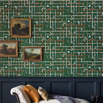 Bastoni Fornasetti Wallpaper Charcoal Cole and Son