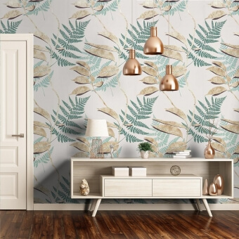 Feuille d'Or Wallpaper Aqua Osborne and Little