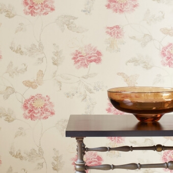 Papier peint Poppy & Butterfly Blue Colefax and Fowler