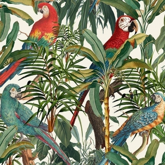 Parrots of Brasil Fabric Green/orange/Anthracite Mindthegap