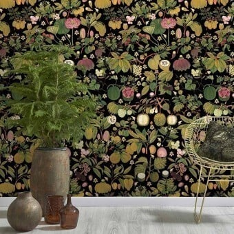 Panneau Asian Fruits and Flowers Anthracite Mindthegap