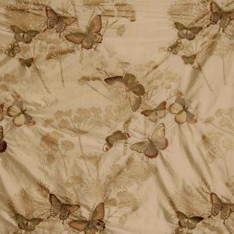 Papillons en Liberté Embroidered Silk Beige Nobilis