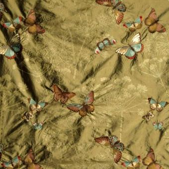 Soie brodée Papillons en Liberté Beige Nobilis