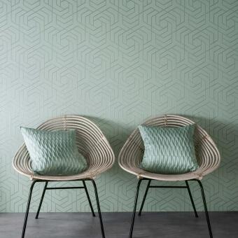 Hexagon Trellis Wallpaper Celadon Osborne and Little