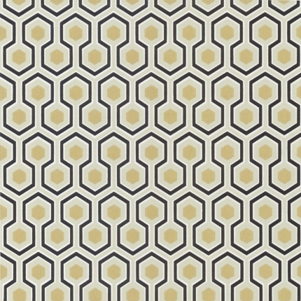 Papier peint Hicks' Hexagon Cole and Son Noir/Or 66/8056 Cole and Son