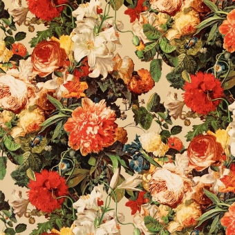 Velours Floral Pompadour Red/Plum Mulberry