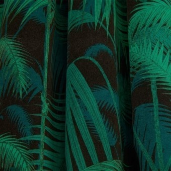 Palm Jungle Linen Fabric Hyacinth on White Cole and Son