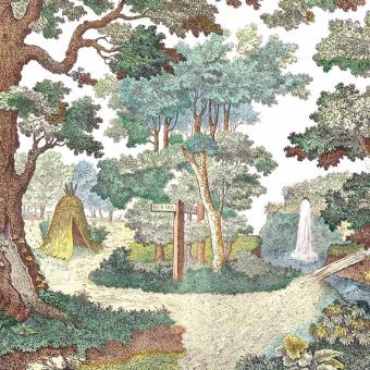 Forêt Hutte Panel Mulicolore Maison Images d'Epinal