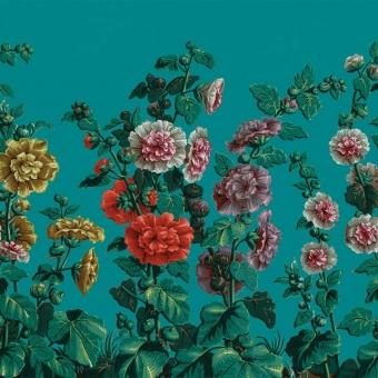 Panneau Roses Trémières Turquoise  Le Grand Siècle