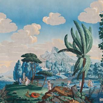 Panneau Paysage de Télémaque dans l'île de Calypso Monochrome Le Grand Siècle
