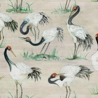 Cranes Wallpaper Beige Osborne and Little