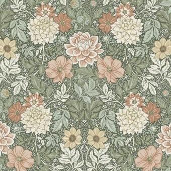 Dahlia Garden Wallpaper Green Borastapeter