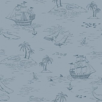 Treasure Island Wallpaper Blue Borastapeter