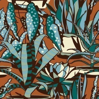 Agaves Fabric Brown Nobilis