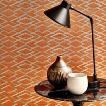 Geometric Silk Wallpaper Copper Jane Churchill