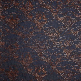 Indigo Macaque Wallcovering Copper Arte