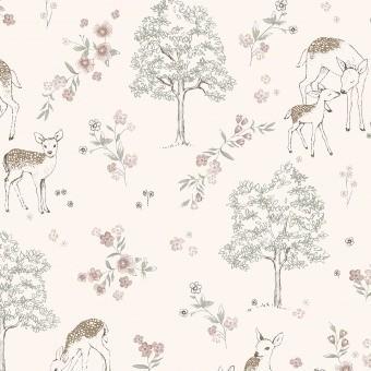 Deer Love Wallpaper Pink Borastapeter