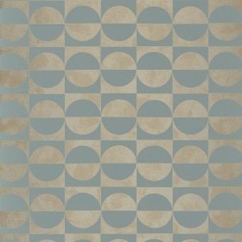 Circles Wallpaper Blanc/Orange Casamance