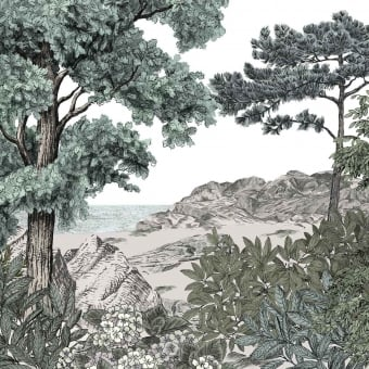 Forêt de Bretagne Naturel Panel 150x330 cm - 3 lés - côté droit Isidore Leroy