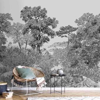 Forêt de Bretagne Grisaille Panel 150x330 cm - 3 lés - côté droit Isidore Leroy