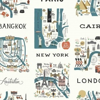 Papier peint City Maps Blue/Red Rifle Paper Co.