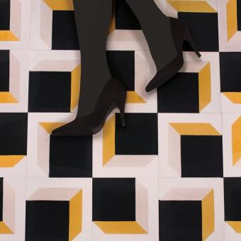 Illusion cement Tile Orange Beauregard Studio
