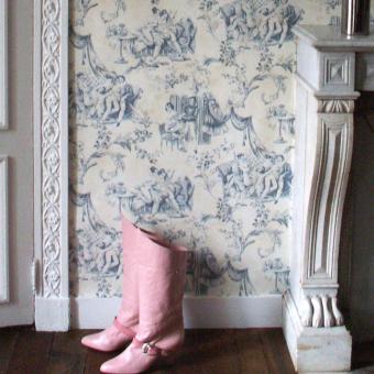 Erotic Toile de Jouy Wallpaper Black Pascale Risbourg