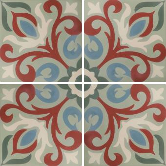 Arabesque Fleuri cement Tile Multicolor Carodeco