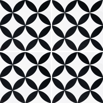 Rosace cement Tile Black Carodeco