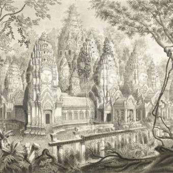 Ruines du Bayon Panel Monochrome Etoffe.com x Agence Musées Nationaux