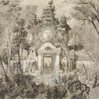 Angkor Thom Panel Monochrome Etoffe.com x Agence Musées Nationaux
