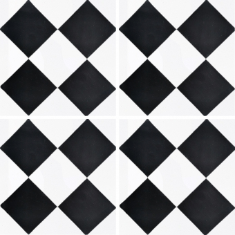 Damier cement Tile Black/White Carodeco
