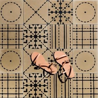 Stripe cement Tile Beige Maison Bahya