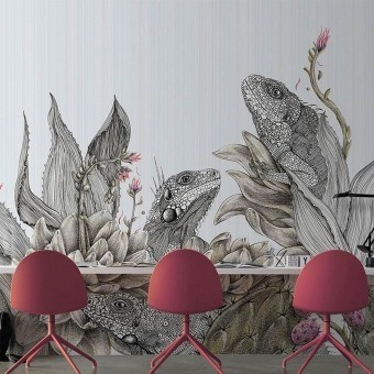 Iguanas Panel Monochrome Inkiostro Bianco