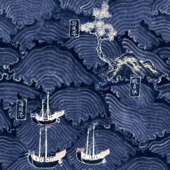 Waves Of Tsushima Panel Indigo/Taupe Mindthegap