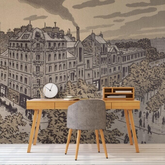 Boulevard de Clichy Panel Sépia Etoffe.com x Agence Musées Nationaux