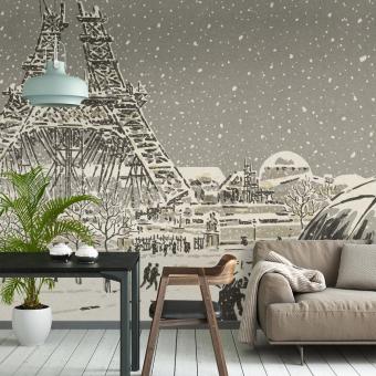 La Tour Eiffel en construction Panel Neige Etoffe.com x Agence Musées Nationaux
