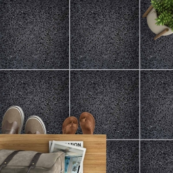 Aganippe 11 Terrazzo tile Anthracite Carodeco