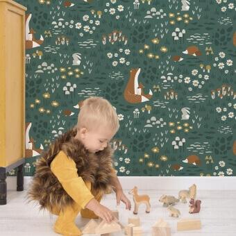 Animaux de la Forêt Wallpaper Vert Lilipinso