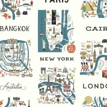 City Maps peel & stick wallpaper Blue/Red Rifle Paper Co.