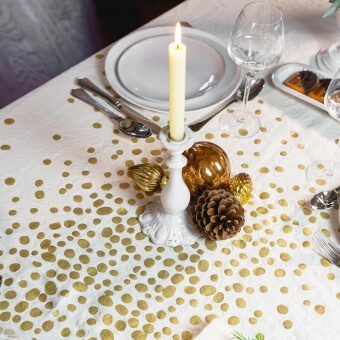 White Golden Pepite Tablecloth 175x175 cm Bertozzi
