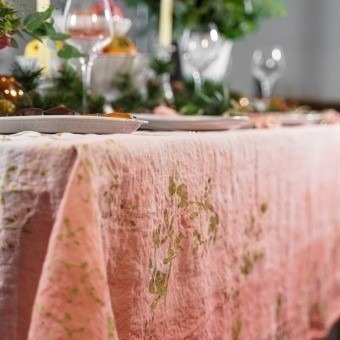 Nappe Golden Mistletoe Rosa 175x175 cm Bertozzi