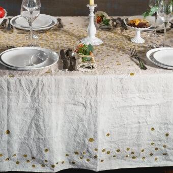 Grey Golden Pepite Tablecloth 175x175 cm Bertozzi