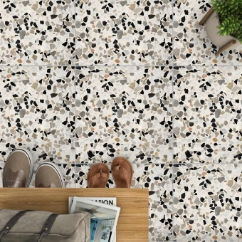 Aganippe 34 Terrazzo tile Anthracite Carodeco