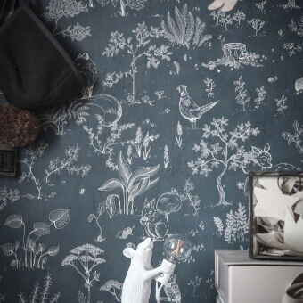 Hollie Wallpaper Dark/Blue Sandberg