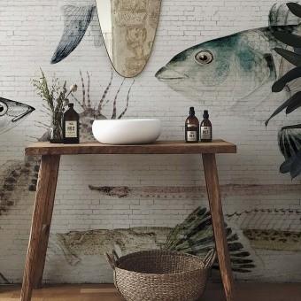 White Brick Wall & Fish Panel White Brick Wall & Fish Les Dominotiers