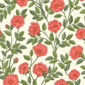 Papier peint Hampton Roses Cream/Forest Green Cole and Son